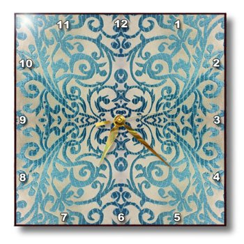 3dRose dpp_26551_3 Formal Teal Scroll Wall Clock, 15 by 15-I