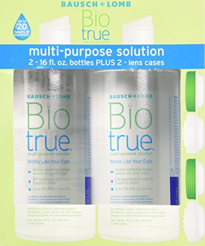 Bausch Lomb Contacts - Bausch & Lomb Biotrue Multi-Purpose Solution - 2/16 oz Bottles Plus 2 lens cases