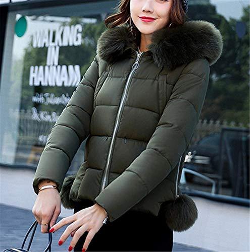 Acolchada Fit Mujer Grün Chaqueta Espesar De Unicolor Outerwear qP0Ag
