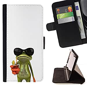 For Apple Iphone 5 / 5S Sun Shades Sunglasses Frog White Drink Beautiful Print Wallet Leather Case Cover With Credit Card Slots And Stand Function