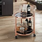 BOWERY HILL Contemporary Serving Cart in Rose Gold