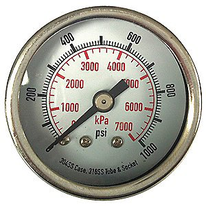 4FMY7 Pressure Gauges, 3-1/2 In by Grainger