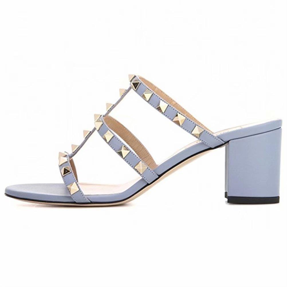 Chris-T Chunky Heels for Womens Studded Slipper Low Block Heel Sandals Open Toe Slide Studs Dress Pumps Sandals 5-14 US B07DH7L5FD 12 M US|Blue 5cm