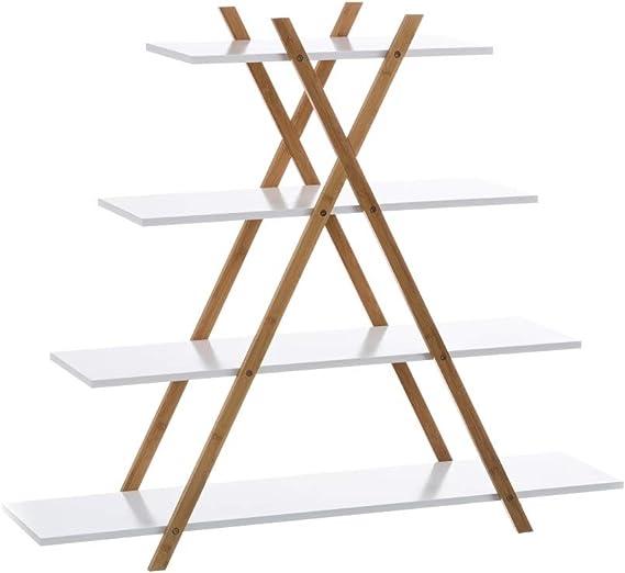 Estantería Blanca de bambú con 4 baldas nórdica para Cuarto de baño Basic - LOLAhome: Amazon.es: Hogar