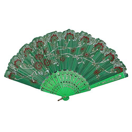 Hohaski Chinese Style Hand Folding Fan, Floral Hand Folding Fans fKung Fu Fan Japanese Folding Nylon-Cloth Hand Fan Gift Fan Craft Fan Folding Dance Fan (Green)