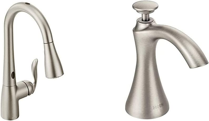 Moen Arbor Motionsense Two-Sensor Touchless One-Handle Pulldown Kitchen Faucet Featuring Power Clean & Transitional Deck Mounted Kitchen Soap Dispenser with Above The Sink Refillable Bottle