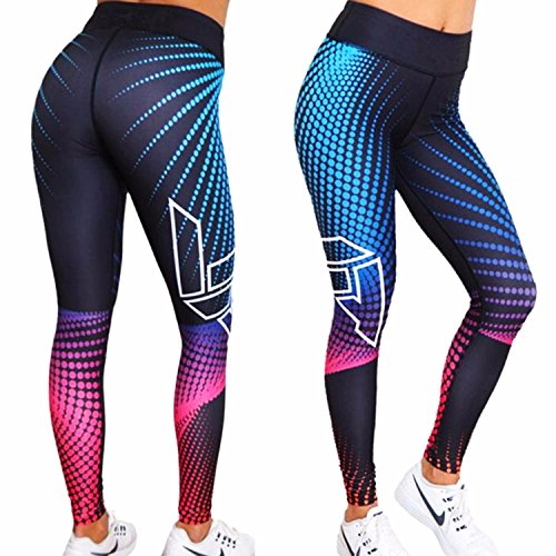 Fittoo Womens 3D Print Yoga Pants Skinny Workout Gym Leggings Fitness Sports Sexy High Waist Trousers Pink Ray (L) ()