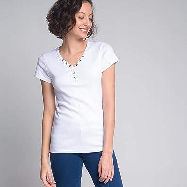 480a1be41 Camiseta Luigi Bertolli Feminino Botãozinho Branca  Amazon.com.br ...