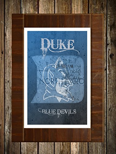 Duke Blue Devils Map Topographical Sports Print Art ()