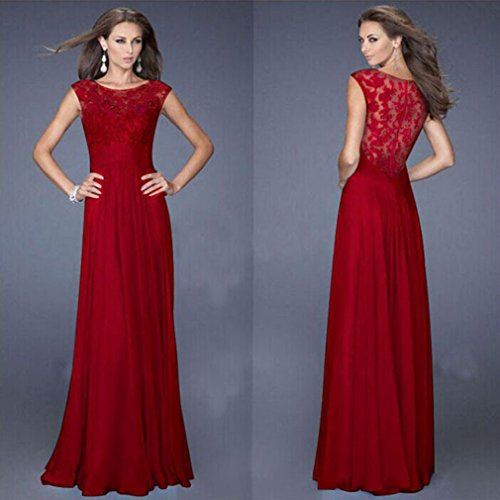 Meolin Women Elegant Long Evening Dress Cocktail Wedding Party Dress,red,XL