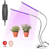 ELEPOWSTAR Grow Light, 18W Dual Head Timing LED Plant Growing Lamp, 360 Degree Adjustable Gooseneck 5 Dimmable Levels Red Blue Indoor Lighting for Plants with 3/6/12H Looping Memory Timer & Metal Clip