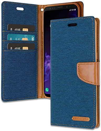 Galaxy S9 Wallet Case with Free 4 Gifts [Shockproof] GOOSPERY Canvas Diary Ver.Magnetic [Denim Material] Card Holder with Kickstand Flip Cover for Samsung GalaxyS9 - Blue, ()
