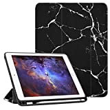 Fintie iPad 9.7 2018 Case with Built-in Apple Pencil Holder - [SlimShell] Lightweight Soft TPU Back Protective Stand Cover with Auto Wake/Sleep for Apple iPad 2018 9.7 Inch (6th Gen), Marble Black