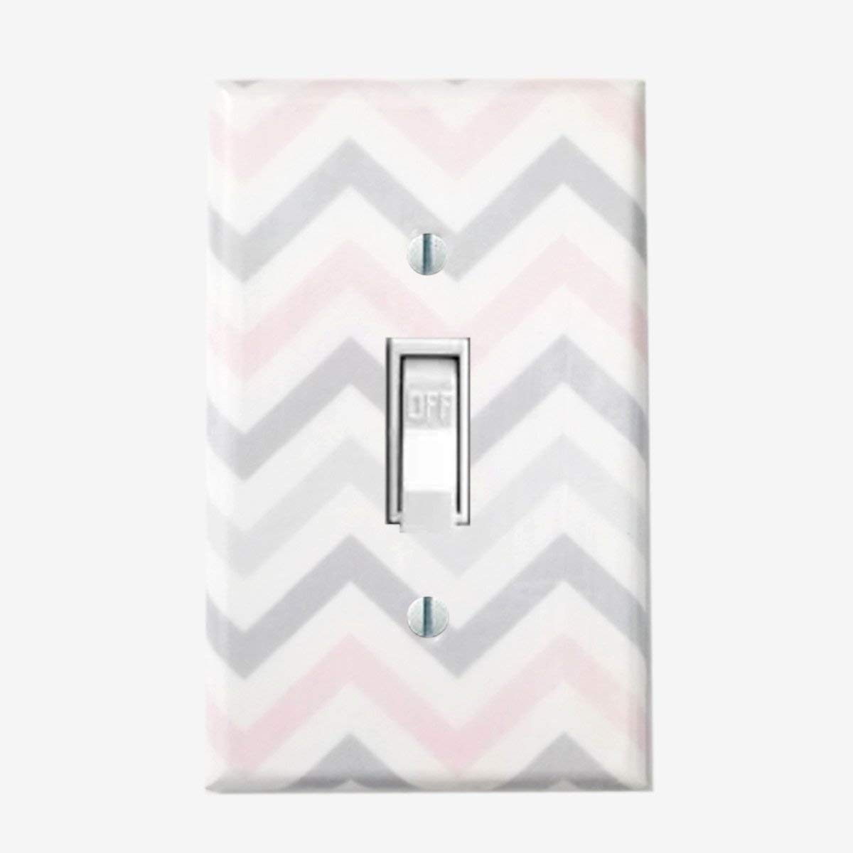 Chevron light switch cover Girls bedroom wall decor pink gray