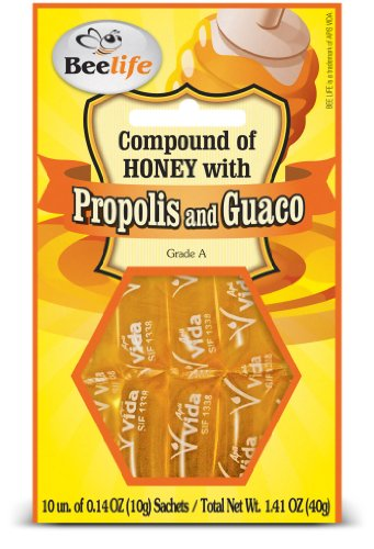 1.41 Ounce Units - Beelife, 100% Pure, Raw and Unfiltered Honey, Propolis and Guaco Sachets - 10 Units