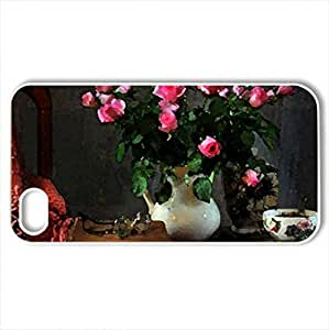 Roses with Tea - Case Cover for iPhone 4 and 4s (Flowers Series, Watercolor style, White)