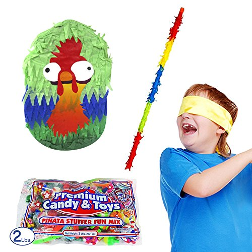(Funny Rooster Pinata Kit Including Pinata, 2 lb Candy Filler, Buster Stick and Bandana)