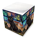 4th of July Independence Day Fireworks Black Cat at The Lake Note Cube NOC51098