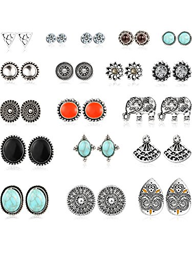 Mtlee 18 Pairs Assorted Boho Stud Earrings Set Vintage Round Beads Earring for Women and Girls