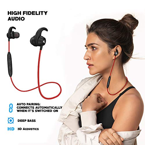 Boult Audio ProBass Space Wireless Bluetooth Sports Earphones with Mic, IPX5 Sweatproof Deep Bass Headphones, Mobile Headset Best for Gym and Running (Red)