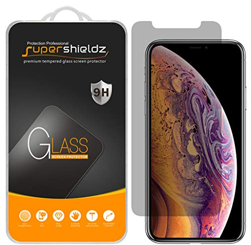 [2-Pack] Supershieldz for Apple iPhone X (Privacy) Anti-Spy Tempered Glass Screen Protector, 0.3mm Anti-Scratch, Anti-Fingerprint, Bubble Free - Lifetime Replacement Warranty