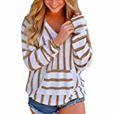 Hot Sale!Women Blouse ,FeiXiang♈ Women's Stripe Loose Long Sleeve Jumper Sweater Ladies Casual Knitwear Tops (XL, Khaki)
