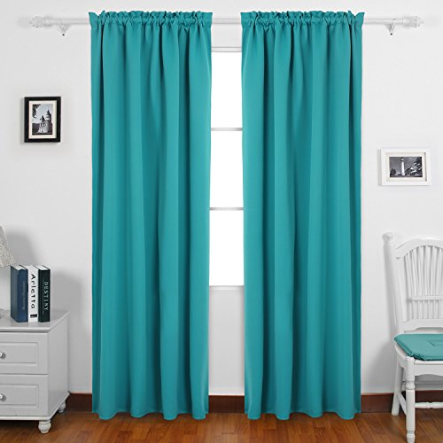 Deconovo Solid Color Rod Pocket Drapes and Curtains Thermal Insulated Blackout Curtains for Kids Bedroom 42 W x 63 L Turquoise 1 Pair