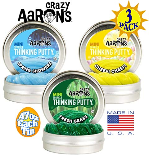 Crazy Aarons Sparkle Thinking Putty Mini Tins Cheep! Cheep!, Fresh Grass & Spring Shower 2019 Easter Basket Spring Trio - 3 Pack