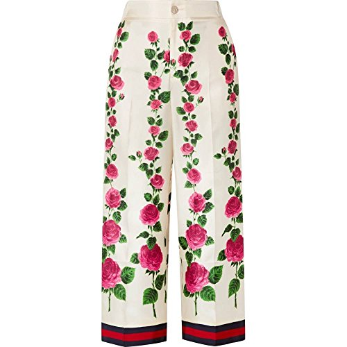 パワー性交ビクター(グッチ) Gucci レディース ボトムス?パンツ クロップド Cropped grosgrain-trimmed floral-print silk-twill wide-leg pants [並行輸入品]