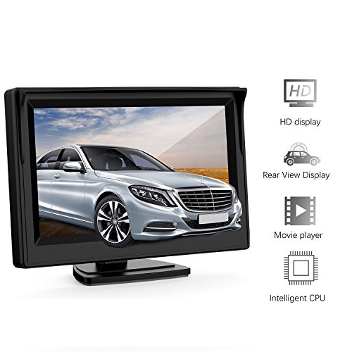 5 Inch Car Rear View Monitor - GOGO ROADLESS 2 Video Input Vehicle Backup Monitor for VCD/DVD/GPS/Car Reverse Camera/Truck//Trailer