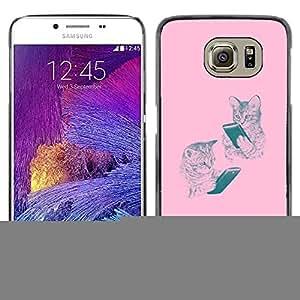 iKiki Tech / Estuche rígido - Pink Kittens Book Bible Reading Kids School - Samsung Galaxy S6 SM-G920