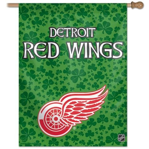 NHL Detroit Red Wings 27-by-37-Inch Vertical Flag Shamrock