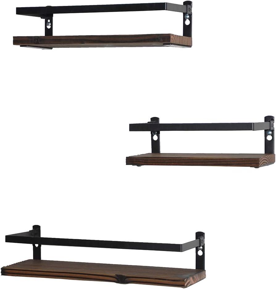 PHUNAYA Floating Shelves Rustic Wood Wall Mounted Shelf Practical Metal Fence Design – Ideal for Bedroom, Bathroom, Kitchen Set of 3