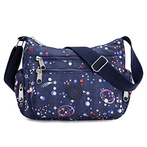 Kukoo Multi Pocket Crossbody Bag Spacious Shoulder Purse Waterproof Travel Handbags for Women (Printing Blue)