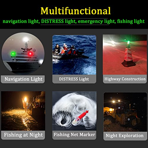 Botepon Boat Kayak Flash Lights Strobe Lights IP67 Waterproof for Navigation Lights, Marine Distress Lights, Emergency Lights, Fishing Net Marker Lights, Red and Green by Botepon (Image #4)