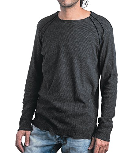 Men's Spring Thin Lightweight Cotton Top with Exposed Seams - Street Style - in Grey - Large