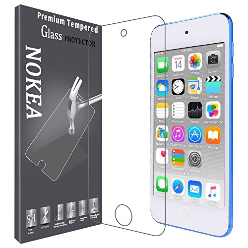 Protector Screen Protect, NOKEA Tempered Glass with [9H Hardness] [Crystal Clear] [Bubble Free] [Easy Installation] for iPod Touch 6G/5G(6th/5th Generation) (1 Pack) ()