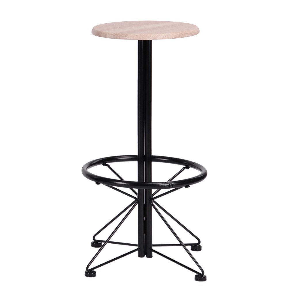 FurnitureR Breakfast Table Set 3pcs Bar Set 2 High Bar Stools and 1 Round Table Panel Metal by FurnitureR (Image #7)