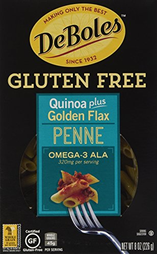 DeBoles Gluten-Free Quinoa Pasta, Penne Plus Golden Flax, 8 Ounce (Pack of 12) (Deboles Free Gluten Pasta)