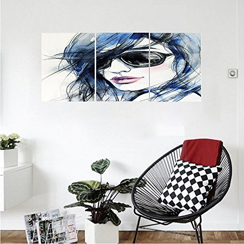 Liguo88 Custom canvas Abstract Watercolor Woman with Sunglasses and Blue Hair Portrait Hand Drawn Picture Wall Hanging for Bedroom Living Room Coconut Blue and - And Ross Sunglasses Brown