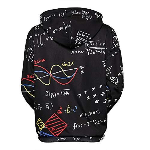 Cappuccio Felpa Felpa Nero Formula 3d Manica Matematica Moda Camicia Stampato Con Uomo Pullover Paolian Lunga uomo HnxOOZ