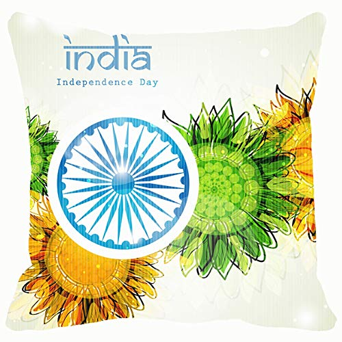 LAZY MOVE Creative Indian Independence Day Concept Ashoka Abstract India Holidays 18x18 Inch Pillow Cover with Invisible Zipper for Sofa Bed Car Decor