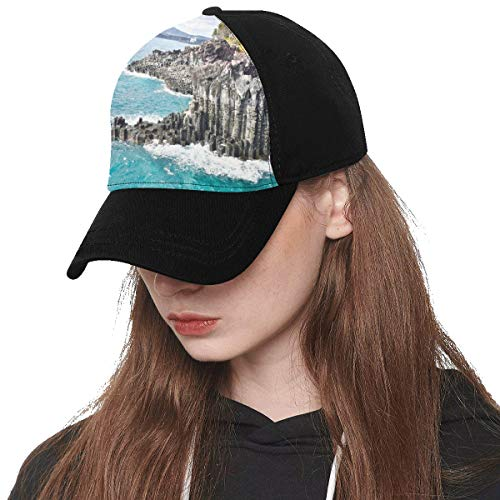 Front Panel Custom Korea Jeju Island City Free Travel Romantic Printing Baseball Hat Adjustable Size Curved Cap for Hip-hop Sports Summer Beach Outdoor Activities Unisex