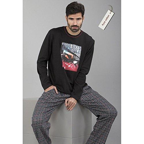 Massana - Pijama Hombre Invierno MASSANA manga larga PURE COTTON 100% algodón - NEGRO,
