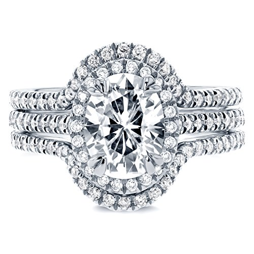 Oval Moissanite and Diamond Halo Bridal Set 2 1/4 CTW in 14k White Gold (3 Piece Set)