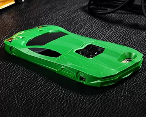 """(Green) Iphone 6s Cool 3D Lifelike Sports Car Style Cover for Apple Iphone 6 (4.7) Anti-slip Hard Detachable Combo Back Case with Convertible Kick Stand,+ Cellphone Pouch with """"Head Malory"""""""