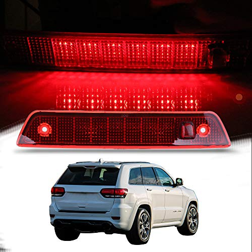 Jeep Cherokee Brake Parts - CCIYU High Mount Stop Lights Full Rear LED 3RD Third Brake Tail Light Replacement fit for 2005-2010 Jeep Grand Cherokee (Red)