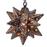 Moravian Star Light, Flower Pierced Tin, Amber Marbles, Bronze, 8''