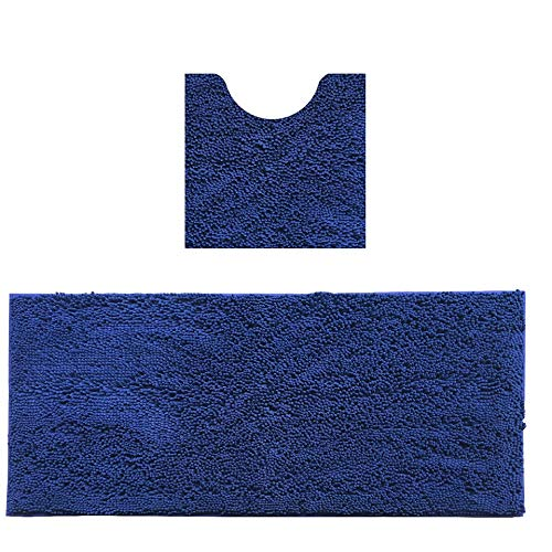 MAYSHAG 2 Piece Bathroom Rug Set Microfiber Bathroom Runner Rugs Combo, Soft Chenille Bath Shower Mat 22 x 47 Inches and U-Shaped Toilet Floor Rug Navy Blue 20 x 20 Inche