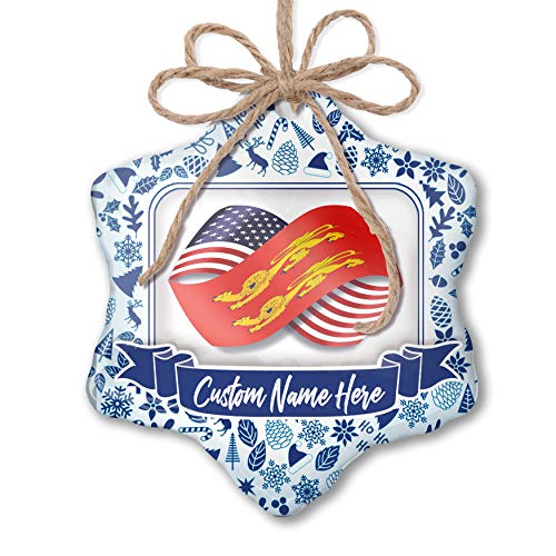 (NEONBLOND Custom Tree Ornament Infinity Flags USA and Basse-Normandie Region France with Your Name)